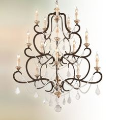Troy Lighting Bordeaux Parisian Bronze Transitional Chandelier at Lowe's. Troy approaches two centuries of design with a sense of curiosity, creating an eclectic line of artisan-made lighting fixtures, at once sophisticated and Candle Style Chandelier, Ceiling Lights, Crystal Chandelier, Transitional Chandeliers, Bronze Chandelier, Direct Lighting, Troy Lighting, Large Chandeliers, Luxury Lighting