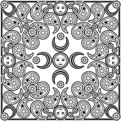 Don't Eat the Paste: Moon and stars bandanna design to color Pattern Coloring Pages, Mandala Coloring Pages, Coloring Book Pages, Coloring Sheets, Mandala Pattern, Mosaic Patterns, To Color, Pictures To Draw, Moon
