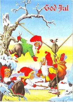 OTTO WIESE MOE signert WIMO: Julenissen heises over bekk - Selges av Olav55_no45 fra Farsund på QXL.no