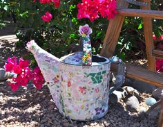 Mosaic Old Watering Can With Vintage China, Pottery, Stained Glass