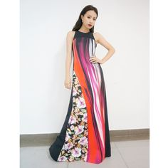 Stephy Tang in Clover Canyon's Resort 2015 Collection Botanical Wave Racerback Maxi Dress