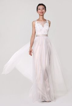 Illusion Tulle Gown with Applique Custom Made Bridal Gown - Yalan Wedding Couture