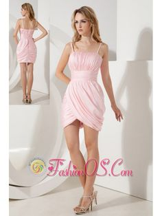 Baby Pink Column Straps Cocktail Dress Ruch Mini-length Taffeta  http://www.fashionos.com  http://www.facebook.com/fashionos.us  Sassy and gorgeous. A fitted, spaghetti bodice is highlighted with the ruches. A coordinating waist sash adds interest and detail to the mid-section of the dress. Sexy cut-out on one side embellished with pleats.Finished off with thigh high hemline. The hidden zipper in the back of the dress secures it in place and makes for easy off and on.