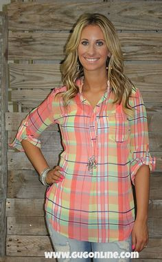 One More Chance Coral Plaid Sheer Blouse $34.95 Small-Large www.gugonline.com