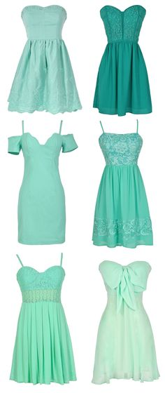 Beautiful Dresses in Teal, Mint, Aqua, Turquoise, Blue, Seafoam, and Greens. Such a great color palette for your bridesmaids!