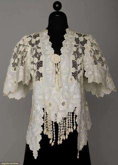 Augusta Auctions: handmade lace jacket, c. 1905  #antique #lace #fashion