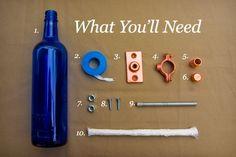 diy project: erik's recycled wine bottle torch / Design*Sponge Wine Bottle Lanterns, Wine Bottle Tiki Torch, Empty Wine Bottles, Wine Bottle Crafts, Bottle Art, Diy Bottle, Beer Bottle, Bottle Garden, Recycled Bottles