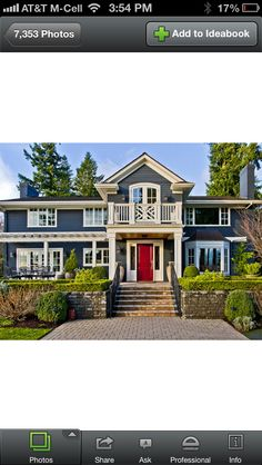 This gray slate blue with a watermelon red door!!!