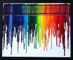 These unique pieces of art are by Jessica Kerbawy, who arranges crayons on a foam board before melting them with a heat gun.