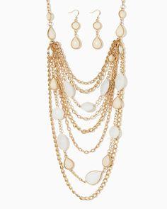 charming charlie | Bejeweled Drapery Necklace Set | UPC: 410007186292 #charmingcharlie