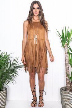 Beyza Suede Fringe Dress