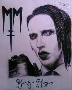 Marilyn Manson  Dibujo a lápiz carbón