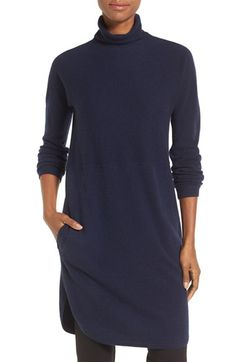 Free shipping and returns on Nordstrom Collection Funnel Neck Cashmere Tunic at Nordstrom.com. Lusciously soft cashmere elevates a dress-length tunic modernized with a cozy funnel neckline, seamlessly smooth shoulders and a shirttail hem. Pockets add to the relaxed appeal.