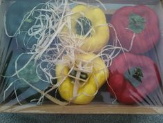 Artifical Bell Pepper In A Wooden Crate 2 Green 2 Red 2 Yellow Looks Real Craft