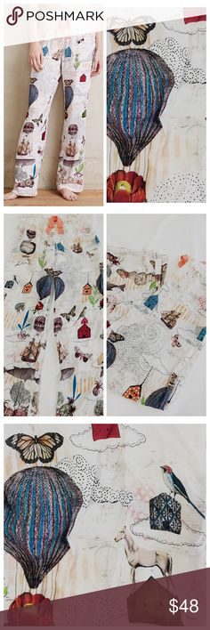 """{Anthro} Sarah Ogren Wanderlust Sleep pants Sarah Ogren Wanderlust Sleep Pants Size M  Featuring the work of Sarah Ogren, a Chicago-based collage artist who assembles joyful dream worlds from found images and original illustrations. An Anthropologie exclusive. Rayon Drawstring waist Machine wash Imported Style No. 38204020 Waist 14.5 - 19"""" flat stretchable, L41"""", Inseam 31.5"""" New with tag Anthropologie Intimates & Sleepwear Pajamas"""
