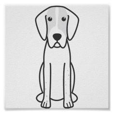 English Foxhound Dog Cartoon Posters