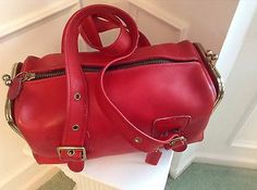 Coach EXTREMELY Rare 1960's Bonnie Cashin XL Red Leather Double Header!