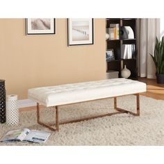 Meridian Gavin White Leather Bench (Bench)