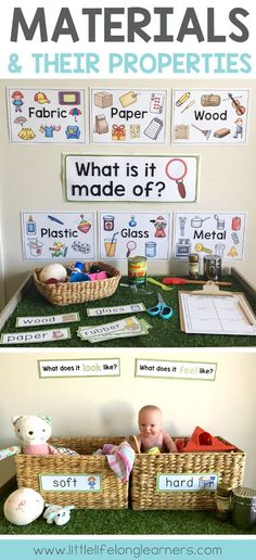 Materials and their properties Foundation, Prep and Kindergarten Science Unit Includes posters, printables and hands-on activity ideas for early learning Australian Curriculum Printables for the classroom Chemistry strand What are objects made Primary Science, Preschool Science, Preschool Classroom, Teaching Science, Science For Kids, Kindergarten Activities, Chemistry Classroom, Science Experiments, Summer Science