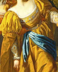 Esther before Ahasuerus, detail; by Artemisia Gentileschi.                             The fabric looks luscious!