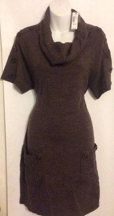Worthington Sz M Sweater Dress 2 Pockets Cowl Neck Sable Heather Acrylic NWT $60 #Worthington #SweaterDress #WeartoWork