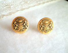 Golden Coat of Arms Button Earrings With Golden by SaveTheNature, $4.80