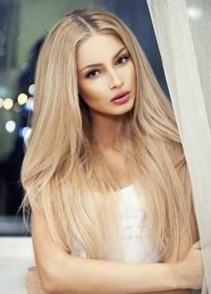 Long Straight Blonde with Dark Roots Remy Human Hair Monofilament Wig about 22 inches