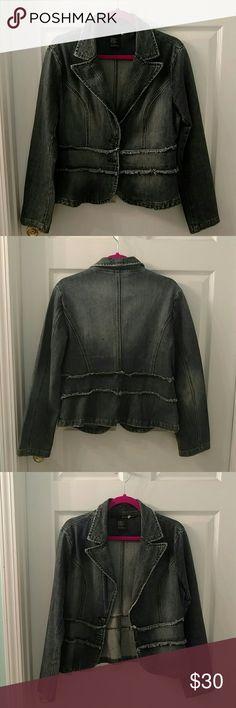 Pierre Cardin jean jacket. Looks new! Long sleeve denim jacket. 2 button front. Very stylish!! Pierre Cardin Jackets & Coats Jean Jackets