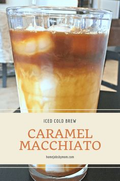 Iced Cold Brew Caramel Macchiato is part of Iced Cold Brew Caramel Macchiato Home Jobs By Mom - A delicious cold layered coffee drink with espresso, vanilla syrup, milk, and of course caramel A sweet, mellow treat for any time of day! Ninja Coffee Bar Recipes, Coffee Drink Recipes, Keurig Recipes, Healthy Iced Coffee, Homemade Iced Coffee, Chocolates, Ice Caramel Macchiato, Carmel Frappe, Coffee Macchiato