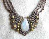 "Macrame Necklace ""Butterfly"" Moonstone gray grey brass Fairy"