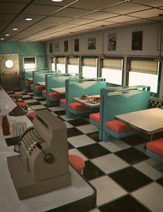 American Diner 60 s 1950 Diner, Vintage Diner, Retro Diner, Vintage Bar, Casa Retro, Retro Cafe, Diner Aesthetic, Aesthetic Vintage, Cafeteria Retro