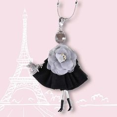large paris Doll Necklace with Flower Posy Grey and black dress