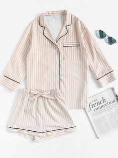 e5a34167f1 Contrast Piping Striped Shirt   Shorts Pajama Set