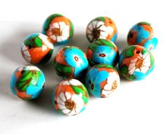 Handmade Polymer Clay Beads, Polymer Clay Beads for Sale, Jewelry Making Supplies, Bead Supplies, White Flower Beads
