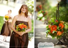 Love the brown bridesmaid dress.. I would have an orange ribbon around the waist