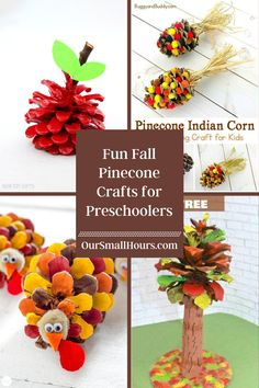 It's Fall, Y'all! Let's get crafty with our kiddos! These fun fall pinecone crafts for preschoolers make a great kid's activity to do with your little one. #pineconecrafts #preschoolcrafts #pineconecraftsforpreschoolers #fallcraftsforpreschoolers #pinecones #fallcrafts #homeschooling | oursmallhours.com Fall Pumpkin Crafts, Thanksgiving Crafts, Fall Crafts For Toddlers, Toddler Crafts, Fall Preschool Activities, Preschool Crafts, Scarecrow Crafts, Halloween Crafts, Pine Cone Crafts