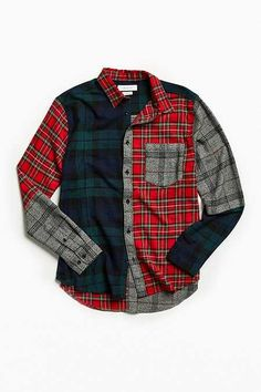 Urban Outfitters Uo Patchwork Plaid Flannel Button-Down Shirt - Assorted Mens Flannel Shirt, Plaid Flannel, Denim Shirt, Umgestaltete Shirts, Printed Shirts, Clothing Store Displays, Latest Mens Wear, Casual Outfits, Fashion Outfits