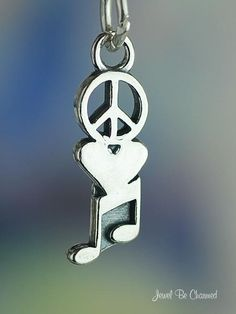 Peace Love Music Charm Sterling Silver Peace by jewelbecharmed, $8.95