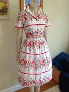 Classic True Vtg 1950s Cotton Day Tea dress Rockabilly Swing 50 s Wedding L £42.54