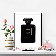 Chanel Print Coco Noir Perfume. Watercolor artwork. Fashion Illustration. Modern Home Décor.