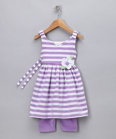 Take a look at this Purple Stripe Tunic & Leggings - Girls  by Blow-Out on #zulily today!