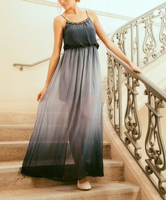 Look at this #zulilyfind! Navy Sheer Embellished Maxi Dress by Potter's Pot #zulilyfinds