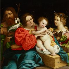 Virgin and Child with Sts John the Baptist and Catherine. 74 x 68 cm. Italian Painters, Italian Artist, St Jose, Holy Mary, Madonna And Child, National Portrait Gallery, John The Baptist, Love Mom, Italian Renaissance