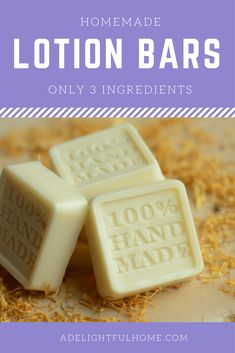 Simple Homemade Lotion Bars (only three ingredients). This lotion bar recipe is easy to make. It uses beeswax, coconut oil, and cocoa butter and can be prepared in less than 30 minutes. Coconut Oil Lotion, Coconut Oil Uses, Coconut Bars, Diy Lotion, Lotion Bars, No Salt Recipes, Soap Recipes, Cookie Recipes, Healthy Recipes
