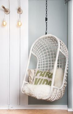 Yes love the idea of a hanging chair - found this one on Etsy much cheaper than the Serena and Lilly version! Hanging Chair Rattan White by Moodadventures on Etsy My New Room, My Room, Girls Bedroom, Bedroom Decor, Deco Design, Home And Deco, Home Living Room, Room Inspiration, Decoration