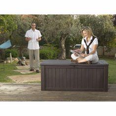 Keter Rockwood Plastic Garden Storage  Deck Box 570 Litre Capacity XL BROWN · $149.95