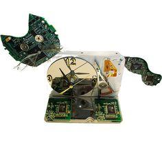 Cool Cat Clock a Computer Hard Drive now a Clock!
