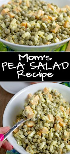 Homemade Pea Salad Recipe Just Like Mom Makes It This classic pea salad recipe is just like mom used to make. It's perfect with ham and great at potlucks. Made with just a few ingredients: peas ham, cheese, onion and Mayo; it's always a hit. Pea Salad Recipes, Pea Recipes, Side Dish Recipes, Potato Recipes, Dinner Recipes, Cooking Recipes, Healthy Recipes, Side Dishes, Recipe For Pea Salad