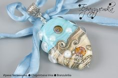 Pendant Breeze. Blue sea lampwork bead silk cord | Flickr: Intercambio de fotos