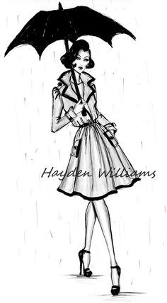 Hayden Williams Fashion Illustrations: London Showers by Hayden Williams